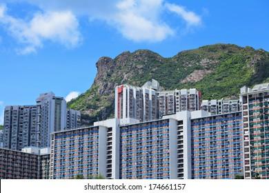 Hong Kong Housing under mountain Lion Rock