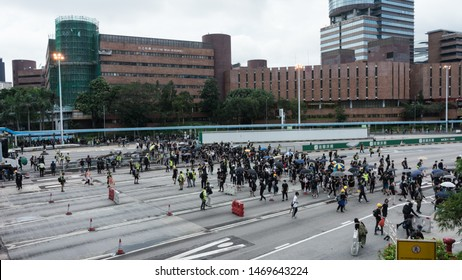 Hong Kong, Hung Hom - 3 August, 2019: Protesters flash mob the Hung Hom Cross Harbour Tunnel and blocked a important line of communication.