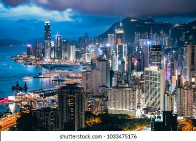 Hong Kong Island blue hour time view from Braemar hill, A destination viewpoint to observe Victoria Harbour, Hong Kong city skyline