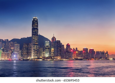 Hong Kong island and business downtown at twilight scene.
