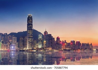 Hong Kong island and business downtown at twilight scene., Reflection concept