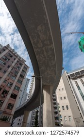 Hong Kong Island, Hong Kong - DEC 31 2018: Hong kong highway between dense residential buildings.