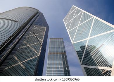 Hong Kong Island, Hong Kong - January 3, 3020: The Bank of China building amidst surrounding towers in the Hong Kong Skyline