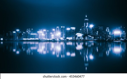 Hong Kong Island from Kowloon, Hong Kong skyline at night, Night view at victoria harbour, Hong Kong