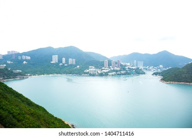 Hong Kong island landscape view from aerial in a cloudy day