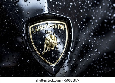 Hong Kong Island - October 16 - 2017: Logo of Lamborghini car parked on the streets of Hong Kong Island on October 16, 2017.