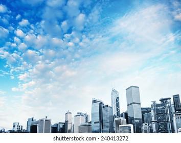 Hong Kong Island skyscrapers.