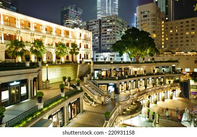 HONG KONG - Jan 19, 2014: Night View of 1881 Heritage in Hong Kong. A former Marine Police Headquarters. It is a landmark and become a shopping center in Hong Kong. Many tourist come to visit.