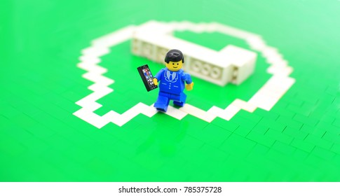 HONG KONG; JAN 2 2018: lego minifigure with the set of city lego in hong kong. Legos are a popular line but of plastic construction toys manufactured by The Lego Group in Denmark