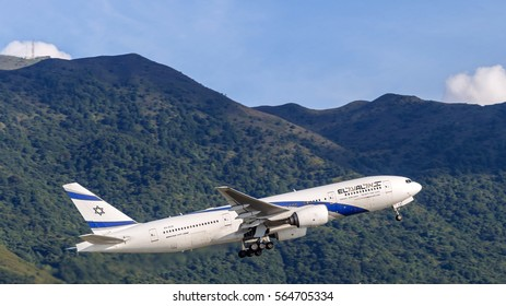 HONG KONG - JAN 23, 2017: El Al Israel Airlines airplane departing from the Hong Kong International Airport. About 90 airlines operate flights from HKIA to over 150 cities across the globe.