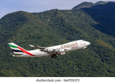 HONG KONG - JAN 23, 2017: Emirates airplane departing from the Hong Kong International Airport. About 90 airlines operate flights from HKIA to over 150 cities across the globe.