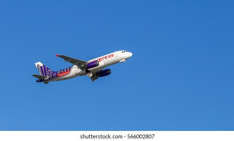 HONG KONG - JAN 23, 2017: Hong Kong Express airplane departing from the Hong Kong International Airport. It is a low-cost airline which provides scheduled air service to twenty-eight destinations.