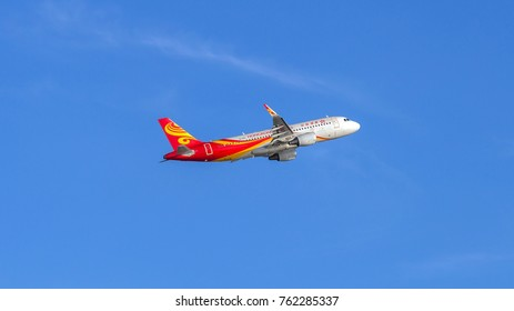 HONG KONG - JAN 23, 2017: Hong Kong Airlines airplane departing from the Hong Kong International Airport. About 90 airlines operate flights from HKIA to over 150 cities across the globe.