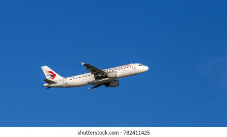 HONG KONG - JAN 23, 2017: China Eastern Airlines airplane departing from the Hong Kong International Airport. About 90 airlines operate flights from HKIA to over 150 cities across the globe.