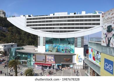 HONG KONG - Jan 30, 3021: The Peak Tower and market square on Victoria Peak on Jan 30, 2021 in Hong Kong.