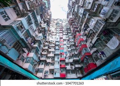 Hong Kong - January 11, 2018 :Old apartment in Hong Kong is a place that part of Tranformer scene