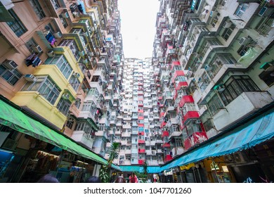 Hong Kong - January 12, 2018 :Old apartment in Hong Kong is a place that part of Tranformer scene