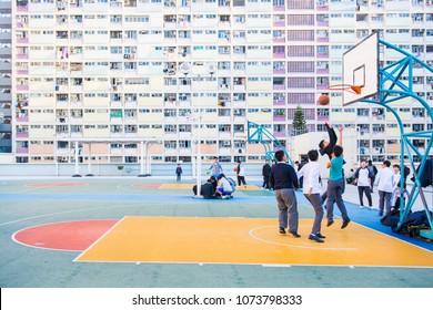 Hong Kong - January 12, 2018 :Children playing basketball at the Choi hung estate, Hong Kong, Landmark