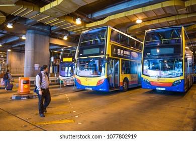Hong Kong - January 14, 2018 :Bus station with parked bus waiting for passengers at Central, Hong Kong, transportation