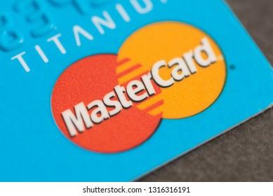 Hong Kong - January 18, 2019: Close-up of Mastercard Logo on credit card