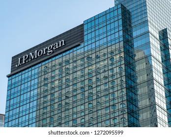 Hong Kong, January 2, 2019: J.P. Morgan in Hong Kong. An American investment bank and financial services company.