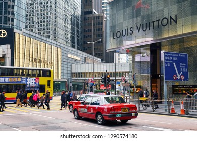HONG KONG - JANUARY 2, 2019:  Louis Vuitton and Giorgio Armani shops in the city center