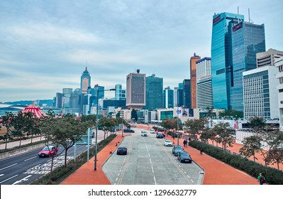 HONG KONG - JANUARY 2, 2019:  View of the road and the central area of the city