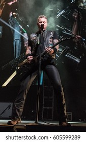 HONG KONG - January 20, 2017: American heavy metal band Metallica show, Vocalist James Hetfield performed on stage