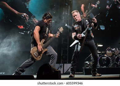 HONG KONG - January 20, 2017: American heavy metal band Metallica show, Vocalist James Hetfield with Bass Guitarist Robert Trujillo performed on stage