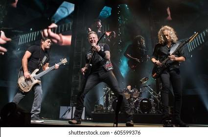 HONG KONG - January 20, 2017: American heavy metal band Metallica show, Vocalist James Hetfield, Bass Guitarist Robert Trujillo, Guitarist Kirk Hammett performed on stage