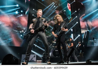 HONG KONG - January 20, 2017: American heavy metal band Metallica show, Vocalist James Hetfield with Guitarist Kirk Hammett performed on stage