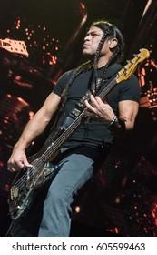 HONG KONG - January 20, 2017: American heavy metal band Metallica show, Bass Guitarist Robert Trujillo performed on stage