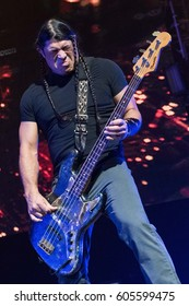 HONG KONG - January 20, 2017: American heavy metal band Metallica show, Bass Guitarist Robert Trujillo performed on stage