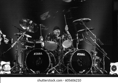 HONG KONG - January 20, 2017: American heavy metal band Metallica show, Drummer Lars Ulrich performed on stage