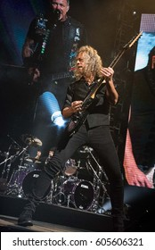 HONG KONG - January 20, 2017: American heavy metal band Metallica show, Guitarist Kirk Hammett performed on stage