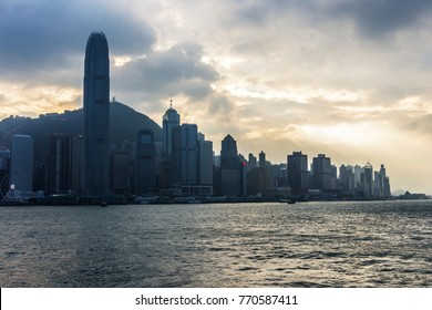 Hong Kong, January 2017. panoramic view of Hong Kong Island with Star ferries on the harbor canal