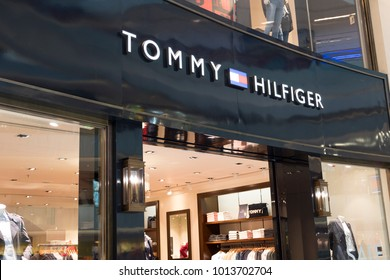 Hong Kong, JANUARY 21, 2018: Tommy Hilfiger store in Hong Kong. Tommy Hilfiger corporation is an American clothing company.