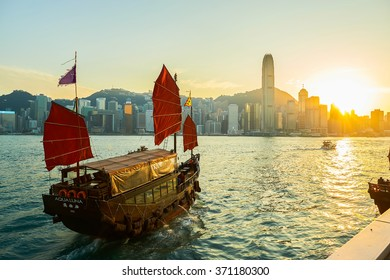 HONG KONG - JANUARY 25, 2016: The Aqua Luna sail around Victoria Harbour. The Aqua Luna, known in Cantonese as the Cheung Po Tsai, is a Chinese Junk operating in Victoria Harbour, Hong Kong
