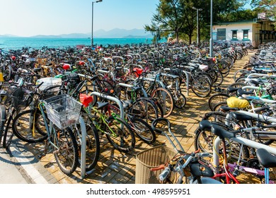 Hong Kong - January 25, 2016: The bike park by the Yung Shue Wan Ferry Pier on Lamma Island was completed in June 2015 and can contain over 300 commuters' bicycles