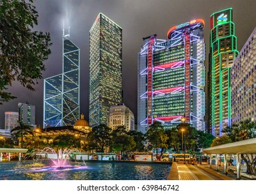 Hong Kong - January 25, 2016: Hong Kong night cityscape of Central District with Bank of China Tower, Cheung Kong Centre, HSBC Main Building and Standard Chartered Bank. View from Cenotaph Square