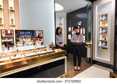 HONG KONG - JANUARY 26, 2016: Estee Lauder cosmetics store at Elements Shopping Mall. Elements is a large shopping mall located on 1 Austin Road West, Tsim Sha Tsui, Kowloon, Hong Kong