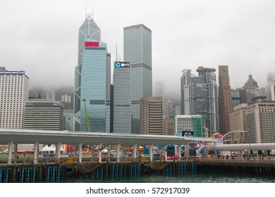 HONG KONG - January 27, 2016: cityscape of Hong Kong with skyscrapers and office buildings in cloudy weather