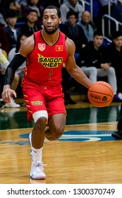 Hong Kong - January 30 2019: #1 Trevon Hughes of Saigon Heat handles the ball during the ASEAN Basketball League match between Hong Kong Eastern and Saigon Heat at Southorn Stadium, Hong Kong