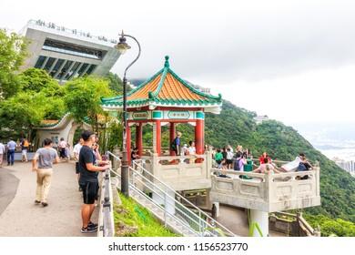 Hong Kong - July 06, 2018: Tourists at Victoria Peak in Hong Kong