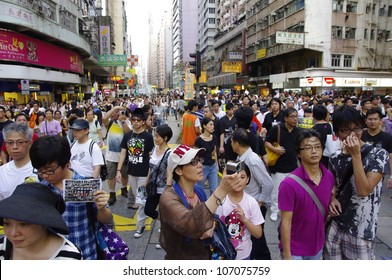 HONG KONG - JULY 1: 0.4 billion of Hongkongers join the Anti-Government march on July 1, 2012 in Hong Kong.