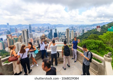 Hong Kong - July 10, 2017: Tourists at Victoria Peak in Hong Kong