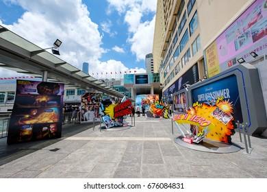 """Hong Kong -July 11, 2017: """"Super Hero Summer"""" Exhibition activity in Harbour city,Tsim Sha Tsui, Hong Kong"""
