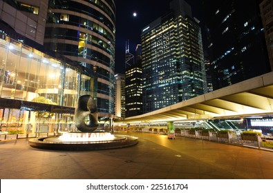 HONG KONG - July 14, 2014: Sculpture and fountain in the Exchange Square is a building complex located in Central District, Hong Kong. It houses offices and the Hong Kong Stock Exchange.