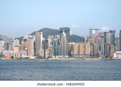 Hong Kong - July 16, 2019 : Out of focus of Modern buildings on Hong Kong Island at Victoria Harbor with foggy.