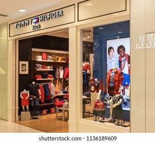 Hong Kong, July 17, 2018: Tommy Hilfiger store in Hong Kong. Tommy Hilfiger corporation is an American clothing company.